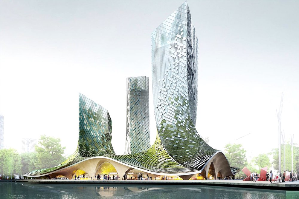 Curvaceous algae-covered towers proposed for Hangzhou